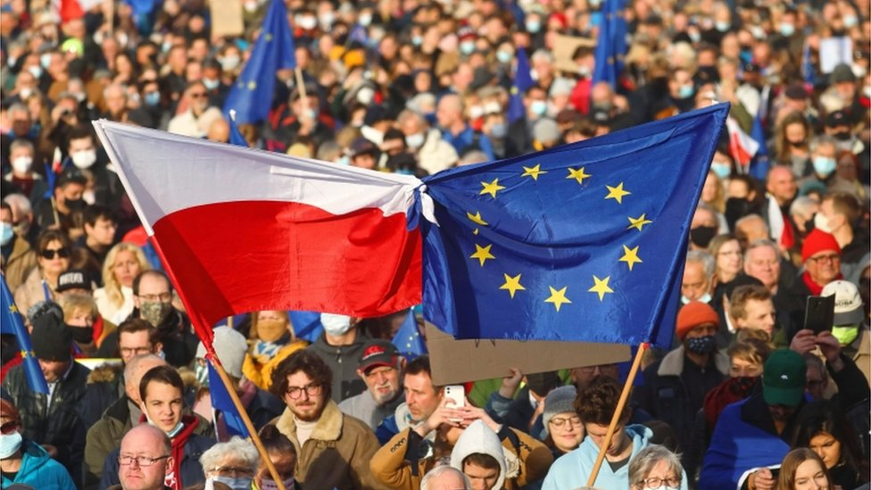 Protests in favour of EU membership in Poland, 10 October 2021